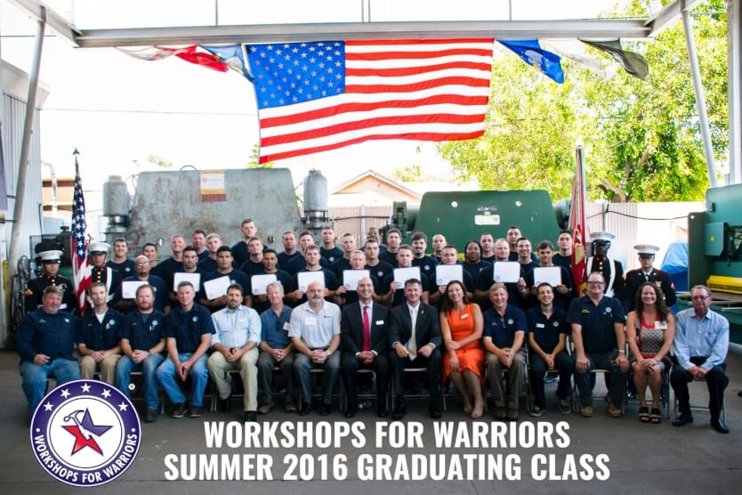 Workshops for Warriors' training center graduates 43 Veterans, Wounded Warriors, and Transitioning Service members into advanced manufacturing careers on August 19, 2016.